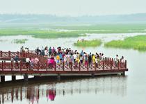 """龍城""""水鄉""""醉游人太原市晉陽湖公園內,許多慕名前來的游人被水岸一色的唯美景色所吸引。【詳細】"""