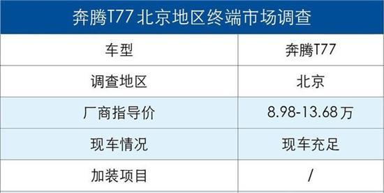首推尊享型 综合优惠达两万奔腾T77购车手册
