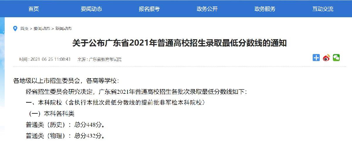 2021年广东高考分数线出炉(附各批次分数线)